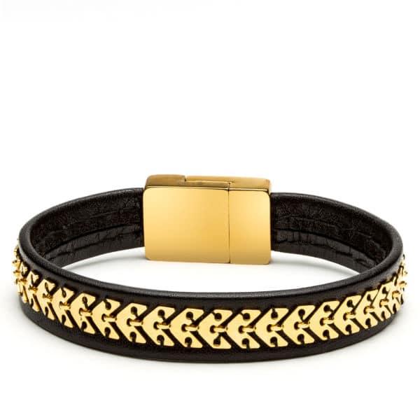 Bracelet cuir doré