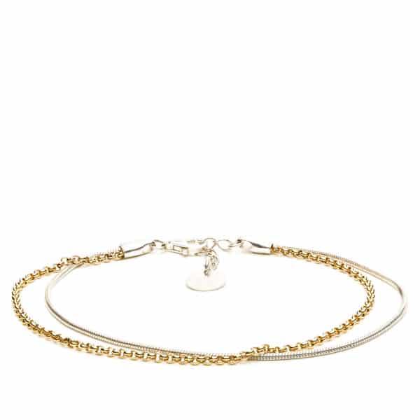 Bracelet dougle argent massif et chaîne plaquée