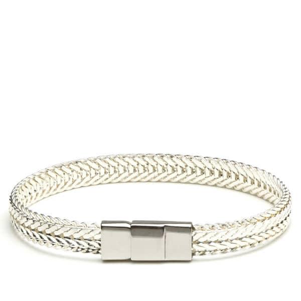 Bracelet jonc plat 1 cm argent