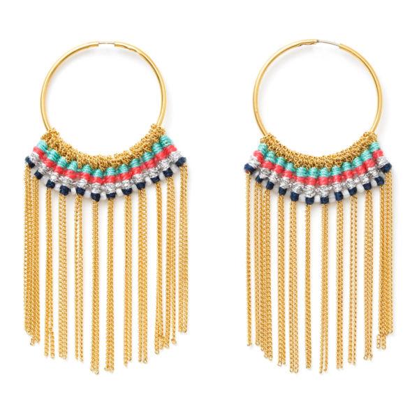 Boucles d'oreilles bracelet bresilien et chaîne dorée