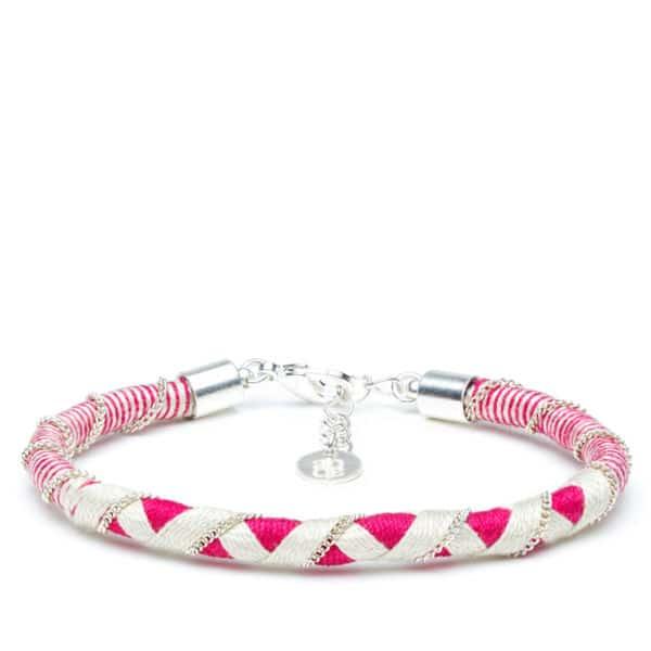 Bracelet Sorna rose et crème