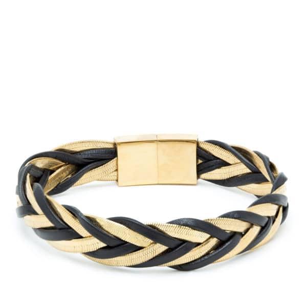 Bracelet tresse cuir et chaîne serpent doré