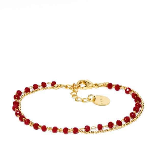 Bracelet perles de verre rouge et or