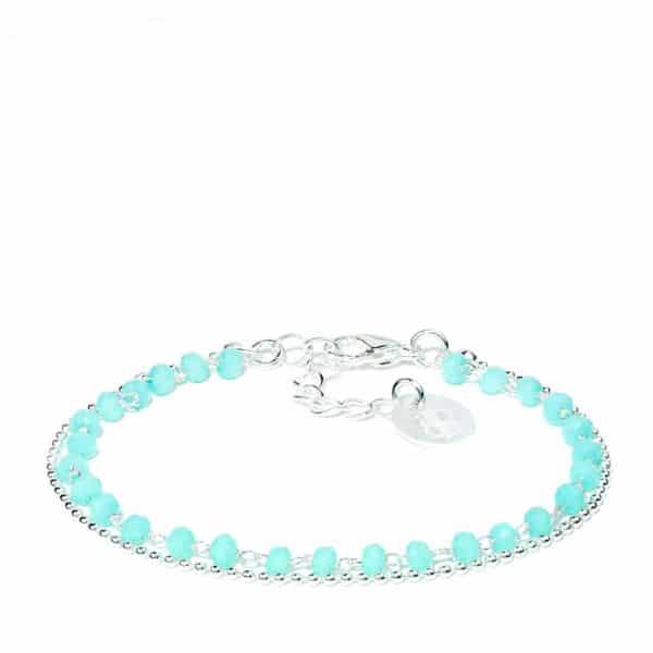 Bracelet perles de verre turquoise et argent