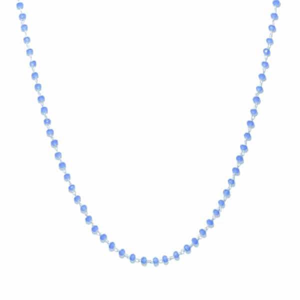 Collier perles de verre bleu et argent