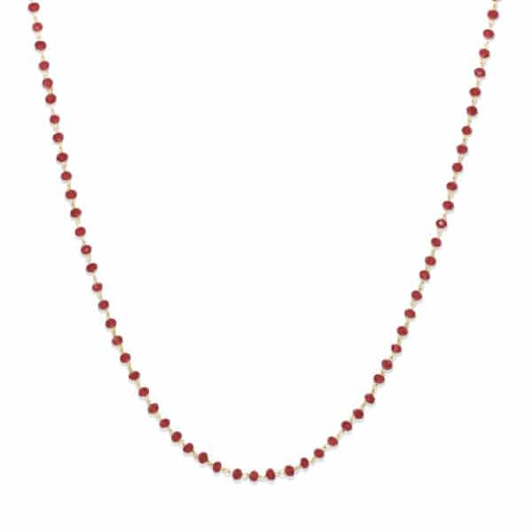 Collier perles de verre rouges