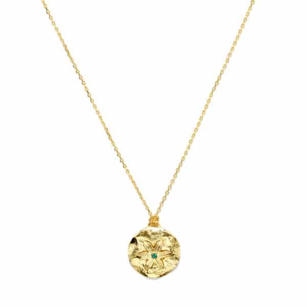 Médaille plaquée or et strass