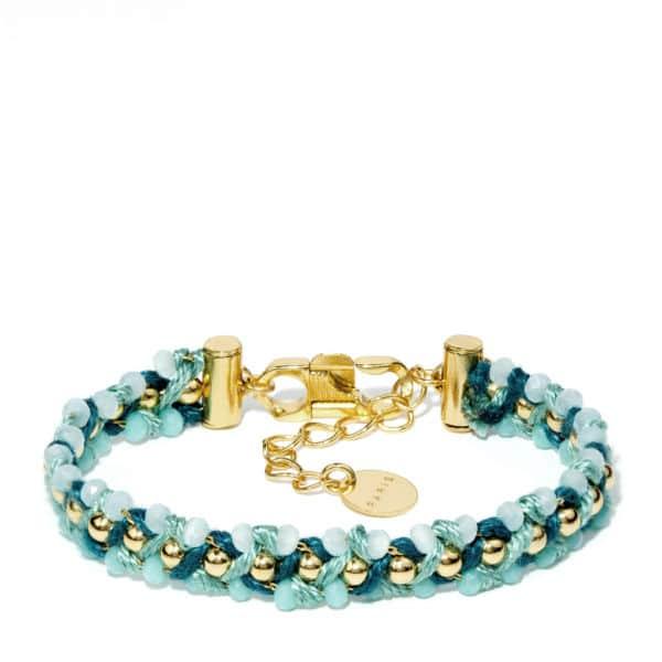 Bracelet triple doré perles de verre,et chaîne à billes