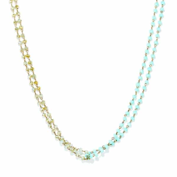 Collier perles de verre bicolor
